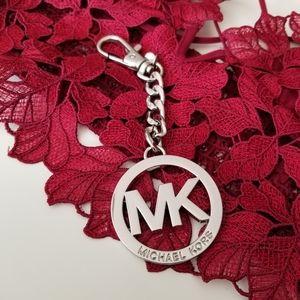 Michael Kors Silver Tone Logo Keychain/Bag Charm
